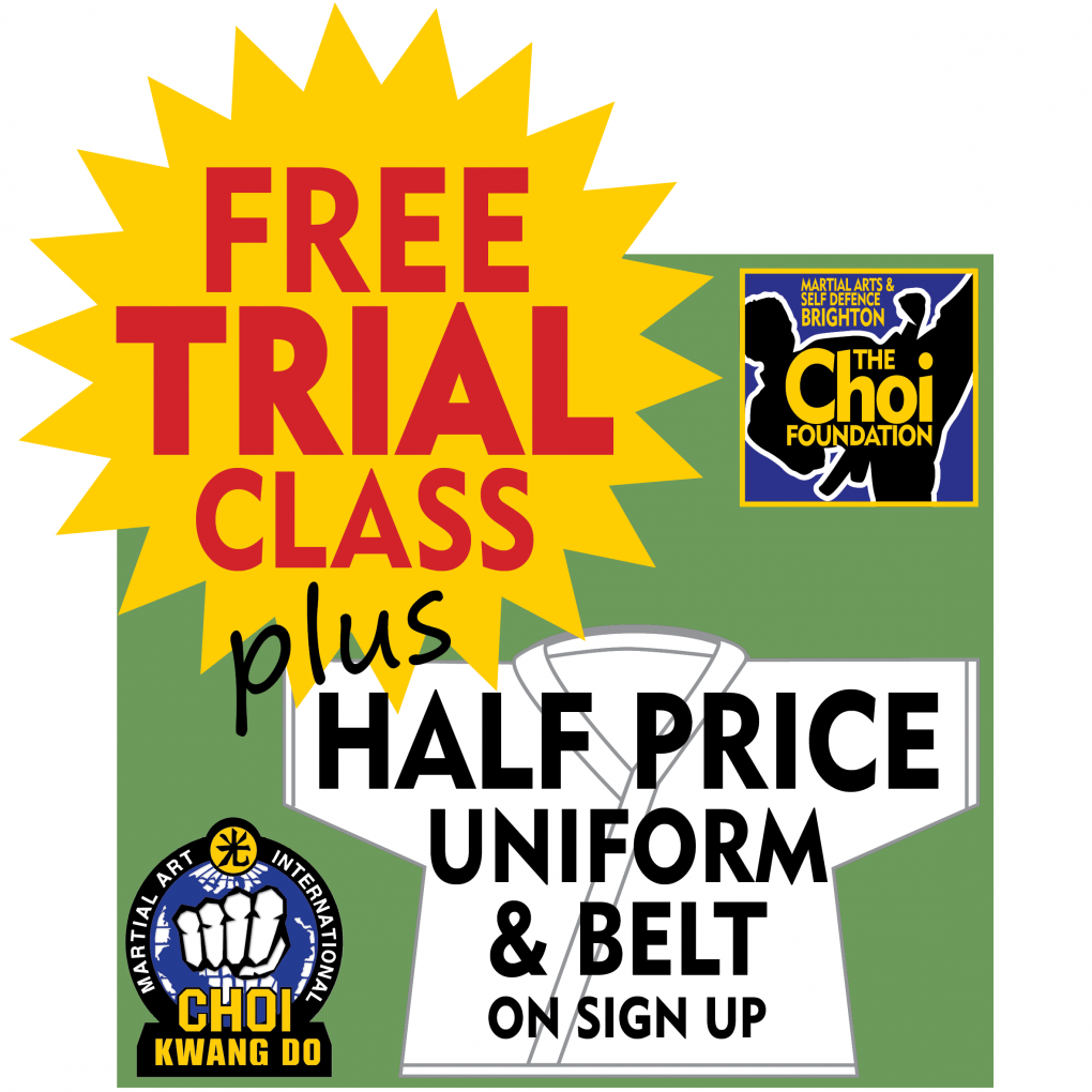 FREE trial class and half price uniform at Brighton Marital Arts and Self-defence classes, The Choi Foundation, Robert Tanswell