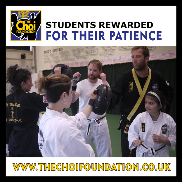 Students are rewarded for their patience  at Brighton Marital Arts and Self-defence classes, The Choi Foundation, Robert Tanswell